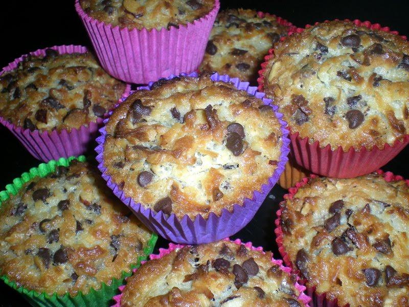 Muffins med chokolade, hasselnødder og kokos…
