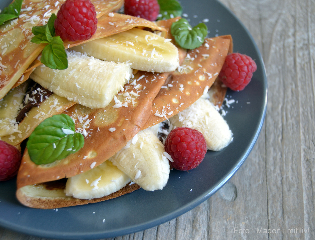 Pandekager med nutella, bananer og kokos…