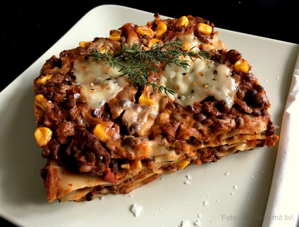 lasagne med oksekød og linser