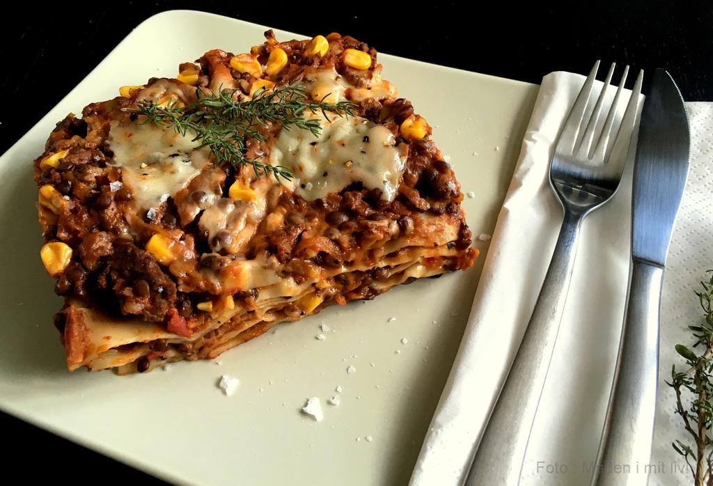 Klassisk lasagne med bolognaise og linser…