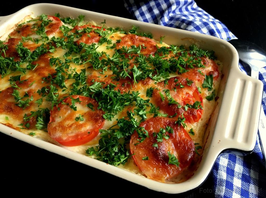 Kartoffellasagne med skinke og mozzarella…