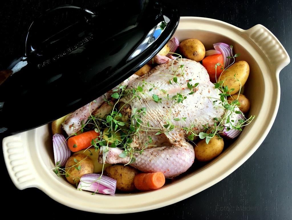 Kylling med timian og citron i stegeso….