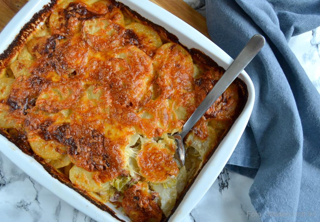 Flødekartofler med porre og bacon…