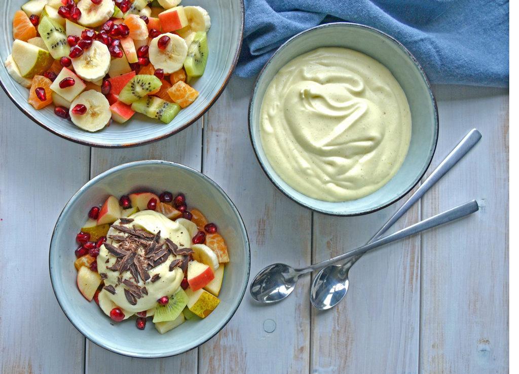 Råcreme til frugtsalat – nem og lækker opskrift.