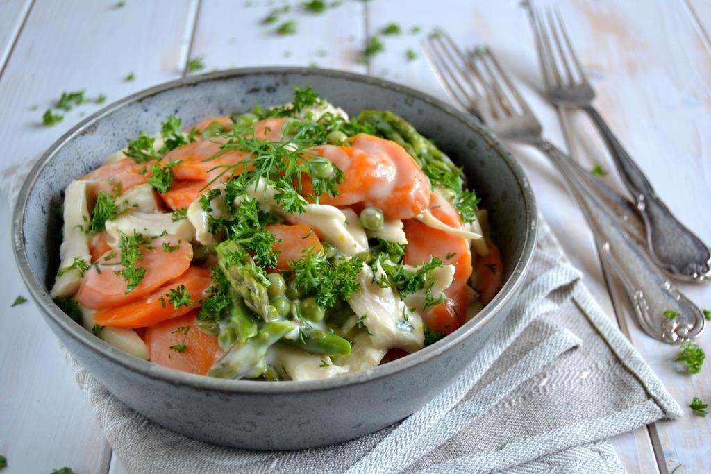 Kyllingefrikassé med sprøde grøntsager…