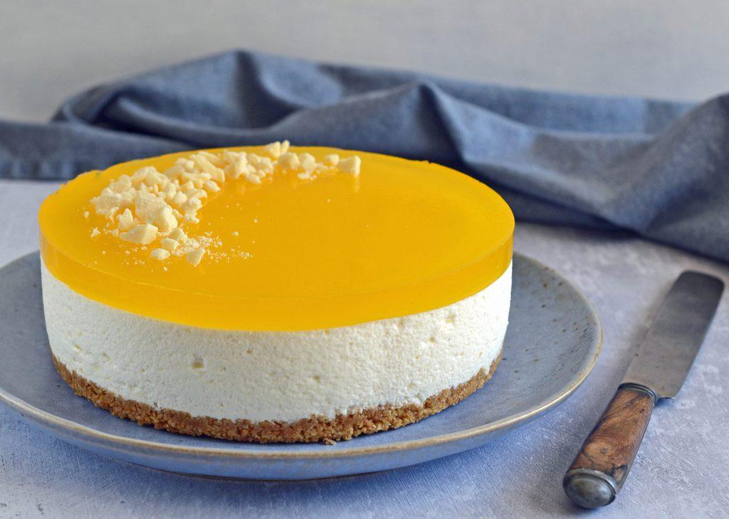 Cheesecake med citron og kiksebund.